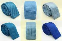 Étroit Tissu Cravate Bleu Fait à la Main Tissé Tricoté Mariage Droit Fin