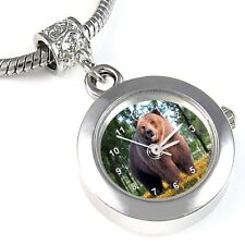 Bear Animal Silver Quartz Watch European Spacer Charm Bead For Bracelet EBA25