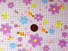 LILAC & WHITE CHECK WITH A FLOWER DESIGN - COTTON FABRIC Fat Quarters
