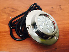 SUPER BRIGHT S.S.316 MARINE WHITE UNDERWATER LIGHT BOAT 9 LED X 3W FISHING