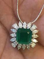 5,50 Cts Marquise Birne Cut Diamanten Smaragd Anhänger Kette Set In 750 18K Gold