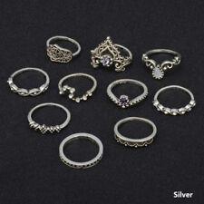 Knuckle Rings Boho Retro Arrow Moon Midi Finger Fashion Jewelry 10Pcs/ Set C