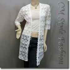 * Chic Floral Sheer Lace Crochet Trimmed Long Cardigan Top Off White S