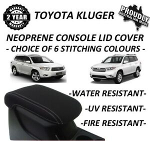 FITS TOYOTA KLUGER NEOPRENE CONSOLE LID COVER (WETSUIT FABRIC) AUG 2007-FEB 2014