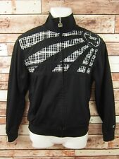 Billabong Mens Track Jacket Size Small Full Zip Up Black White Cotton Blend (A3)