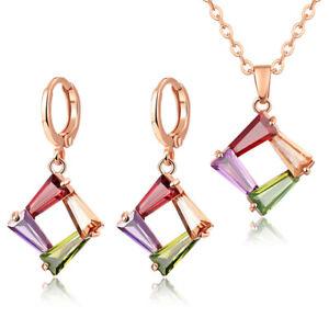 2pc Lot Holiday Jewelry Morganite Topaz Gems Women Necklace Pendant + Earrings