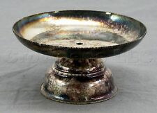 Vintage W A Silverplate Tarnished Silver Decorative Pedestal Candle Holder - 4""