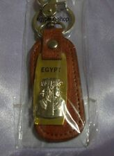 Egyptian Keyring - Leather + Gold/Silvertone -CLEOPATRA -2 Rings-Pharaonic #56