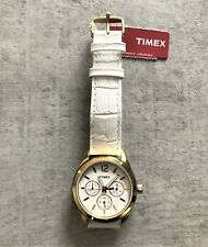 Timex T2P071 Female Gold Kaleidoscope Watch & 18mm White Leather Strap No 5689