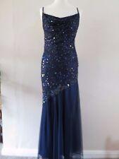 Fabulous Kaleidoscope midnight blue sequin beaded fishtail evening dress sz 10