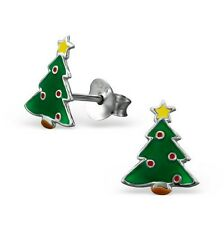 Childrens Girls Christmas tree Stud Earrings, 925 Sterling Silver, + Silk Purse