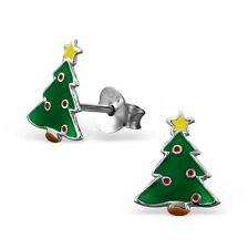 Childrens Girls 925 Sterling Silver Christmas Tree Stud Earrings - Silk Purse