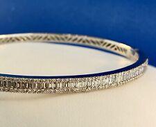 Glamorous 14K White Gold Diamond Hinged Cuff Bangle Bracelet 1.5 tcw