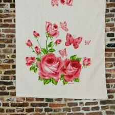 Vintage Pink Rose Bath Towel Butterflies Franco Terry Cloth Mid Century Print