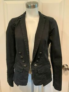 Free People Black Button-Up Blazer w/ Intentional Distressing, Size XS