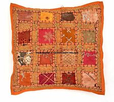 "Indian Orange Patchwork Embroidered 16"" Cushion Throw Vintage Pillow Cases Cover"