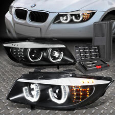 For 09-12 Bmw E90 3-Series 4-Dr 3D U-Halo Led Headlight Lamps+Tool Set Black (Fits: Bmw)