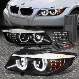 FOR 09-12 BMW E90 3-SERIES 4-DR 3D U-HALO LED HEADLIGHT LAMPS+TOOL SET BLACK