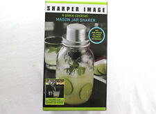 Sharper Image 4 Piece Mason Jar Cocktail Shaker, 32 Ounce built-in measure, New