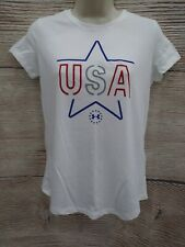 NWT S M L Girls Under Armour USA T-shirt Loose Fit UA Heatgear America Freedom