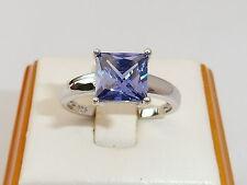 Damen 925 Sterling Silber 1.5 Karat Prinzessin Cut Tansanit Solitär Ring