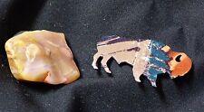 Lot of 2 Magnets Lazart Metal Bison Buffalo & Heavy Rock Colorful Art Deco