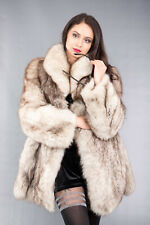4130 GORGEOUS REAL BLUE FOX FUR COAT LUXURY FUR JACKET BEAUTIFUL LOOK SIZE S