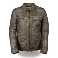 Men's Cafe Racer Vintage Triple Stitch Distressed Brown Biker Leather Jacket