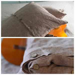 """LINEN DUVET COVER set in a rose brown color with 2 x euro pillow shams (26""""x26"""")"""