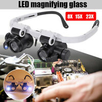 Head Wear Loupe LED Magnifier Magnifying Eye Glasses Watch Jewely Repair Tool