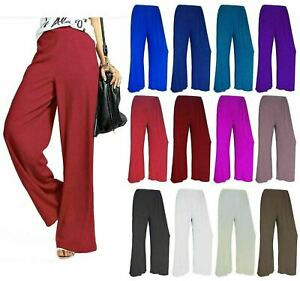 Ladies Womens Plus Size Plain Palazzo Trousers Baggy Wide Leg Flared Pants 8-26