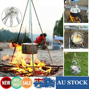 Outdoor Camping Campfire Cooker BBQ Grill Tripod Bushcraft Survival Gear Kit AU