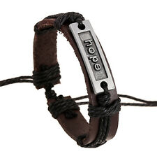 Wholesale 12pcs Handmade Leather Alloy Blackground hope Accessories Bracelets