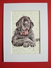 "NEWFOUNDLAND DOG MOUNTED PRINT 6 x 8"" WATERCOLOR PRINT ART PICTURE"