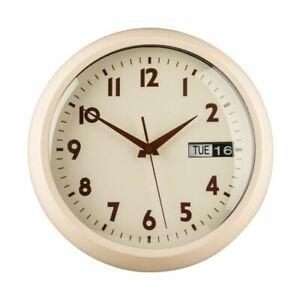 Wall Clock, Cream Metal, Day/Date