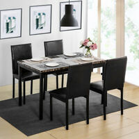 4 Dining Table Chairs 5pcs Faux Mable Pu Leather Set Black Kitchen Furniture US