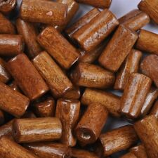 100pcs TUBE SHAPES Light Coffee & Charms WOOD Loose BEADS & 12X6MM