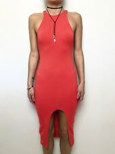 KOOKAI coral red sleeveless body con dress sz 1 (8-10) midi length open front