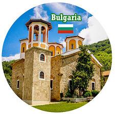 BULGARIA - SIGHTS / FLAG - ROUND SOUVENIR FRIDGE MAGNET - BRAND NEW - GIFT