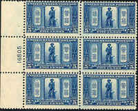 1925 US Stamp #619 A183 5c Mint Never Hinged Plate Block of 6 Catalog Value $275