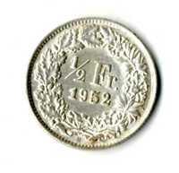 Moneda Suiza 1952 B 1/2 medio franco suizos plata .835 silver coin Helvetia