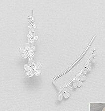 """1"""" Solid Sterling Silver Flower Ear Cuff Climber CRAWLER Hook Earrings"""