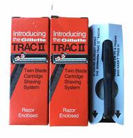 (2) Vtg Gillette Trac II Twin Blade Cartridge System Demonstrator Razor NOS NEW