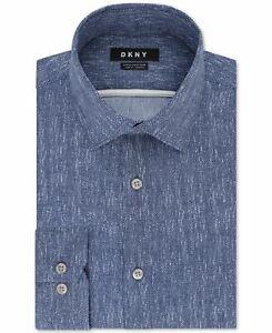 DKNY Mens Dress Shirt Blue Mist Size 17 (XL) Printed Slim Fit Stretch $85 042