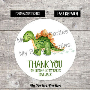 35 Personalised Dinosaur Birthday Party Thank You Stickers, Sweet Cones 3