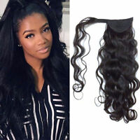 """15-26"""" Body Wave Wrap Around Ponytail Clip-in 100% Remy Human Hair Extension 80g"""