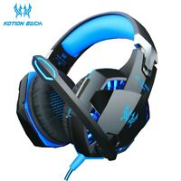 Gaming Headphones Deep Bass Stereo Wired Gamer Headset Mic Led Backlit PC Laptop