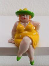 Inware Kantenhocker Dame 14 cm Dicke Frauen Rubensmodelle Dekofigur gelb 26155