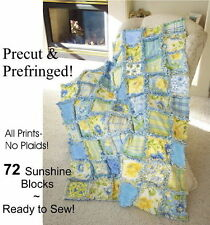 SUMMER BREEZE RAG QUILT KIT 72 Precut PRE-FRINGED Squares Sew Fast / Moda Fabric