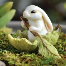Miniature Fairy Garden Bunny in Leaf Boat - Buy 3 Save $5